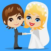 Stock Illustration of beautiful groom with fiancee