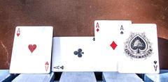 Four aces poker cards Stock Photos