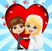 beautiful groom with fiancee on a background a red heart - stock illustration