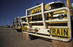 Stock Photo of road trains at top springs road house, northern territory, australia