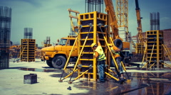 Construction workers building concrete formwork Stock Footage