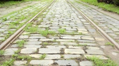 Tram track - grass Stock Footage