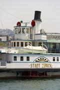 "Stock Photo of the ship ""stadt zuerich"" on the zurich lake in switzerland."
