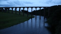 Leaderfoot Viaduct in the evening, Scotland, UK, Stock Footage
