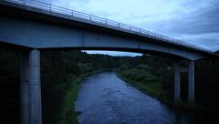 A68 Bridge over the river Melrose Scotland, Drygrange Bridge Stock Footage
