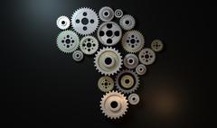 african cogwheel machine - stock illustration