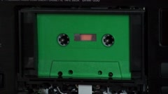 Cassette old Audio Cassette green no2 Stock Footage