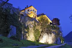 Stock Photo of hotel richard löwenherz illuminated at dusk, dürnstein, area of wachau, low