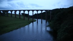 Leaderfoot Viaduct in the evening, Melrose, Scotland, GB, EU Stock Footage
