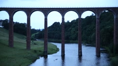 Leaderfoot Viaduct in the evening, Melrose, Scotland, UK, EU Stock Footage