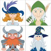 Fantasy heroes, set avatars Stock Illustration