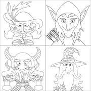 Fantasy heroes, set avatar, contour Stock Illustration