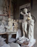 alabaster workshop, figures of alabaster, volterra, tuscany, italy - stock photo