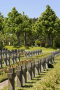 Stock Photo of municipal cemetery with uniform graves in berne, switzerland