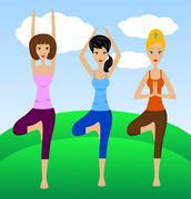Three young women do physical exercises Stock Illustration