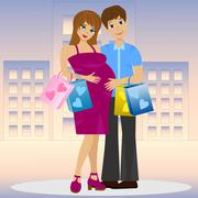 young married couple in expectant of child with purchase - stock illustration