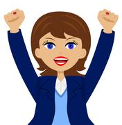 business woman is glad, heaving up hands upwards - stock illustration