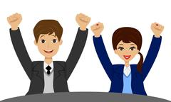 businessmen heaved up hands upwards and are glad to victory - stock illustration