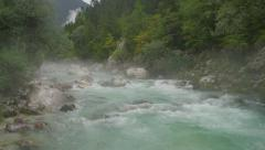 Stock Video Footage of AERIAL: Raging river in misty morning