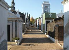 Stock Photo of lane with mausoleums at the famous catholic cemetery asuncion, paraguay