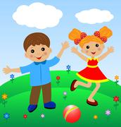 Merry  girl and boy in summer on lawn Stock Illustration
