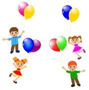 Little child with balloon Stock Illustration