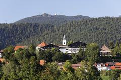 bodenmais and great arber mountain , bavarian forest bavaria germany - stock photo