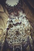 Catholicism, high altar of the cathedral of toledo, gothic style sculptures c Stock Photos