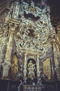 High altar of the cathedral of toledo, gothic style sculptures churregesco Stock Photos
