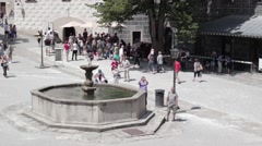 Tourists near the fountain Stock Footage
