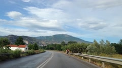 Driving through a greek landscape on the way to Kavala Stock Footage