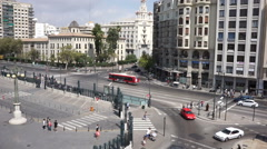 Overhead view of traffic in Valencia, Spain near the Valencia Train Station. Stock Footage