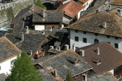 View over the roofs of old splügen, distinguished with the wakker price of t Stock Photos