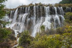 Multi-tiered big waterfall at jiuzhaigou valley national park Stock Photos