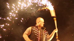 Fire show at night Slow Motion Stock Footage