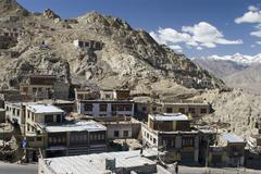 View over the historic center of leh, indus valley, ladakh, jammu and kashmir Stock Photos
