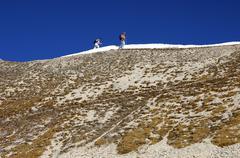 Walking on the ridge valais switzerland Stock Photos