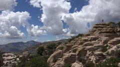 4K Young Woman Hikes Mt Lemon Tucson Arizona Stock Footage