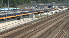 A twin carriage local train in Arnhem, Netherlands. - stock footage