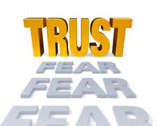 trust replaces fear - stock illustration