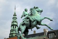 Denmark, copenhagen, equestrian statue at hojbro-square Stock Photos