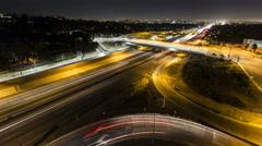 San Diego Freeway Night Wide  - Los Angeles Stock Footage
