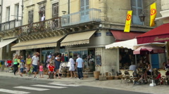 Shops and cafes - Perigueux France Stock Footage