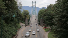 Cars on the lions gate bridge in Vancouver Stock Footage