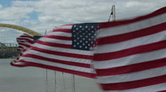 US flags waving in the wind Stock Footage