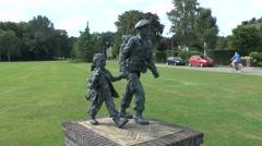 The Soldier with Flower Girl memorial, Oosterbeek, nr Arnhem, Netherlands. - stock footage