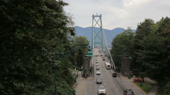 Traffic on the Lions Gate Bridge in Vancouver Stock Footage