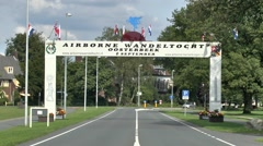 Road archway close to the Airborne Museum, Oosterbeek, nr Arnhem, Netherlands. - stock footage