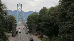 South side of the Lions Gate Bridge in Vancouver Stock Footage