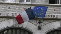 French & EU flags 4k Stock Footage